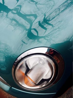photo of reflection in mini cooper